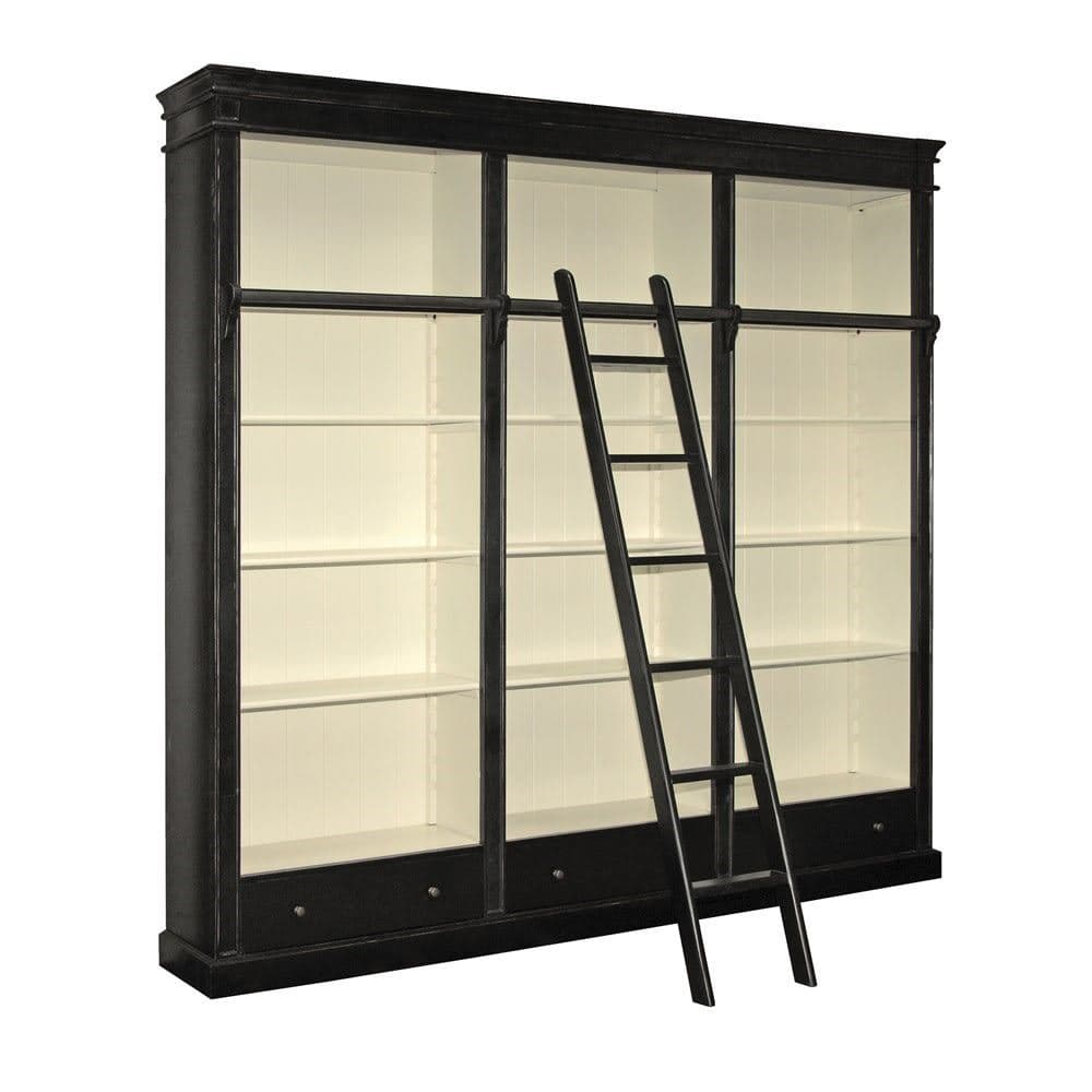 Black Farnley Library Bookcase with Ladder
