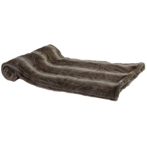 Chunky Brown Stripe Faux Fur Throw