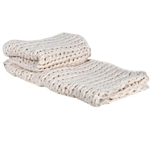 Cream Chunky Knit Blanket