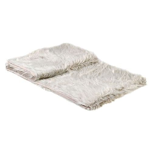 Cream Thick Faux Fur Throw