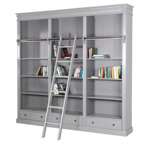 Grey Farnley library Bookcase with Ladder