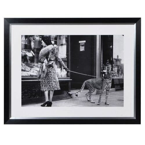 Lady with Cheetah on Leash Picture