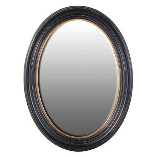 Large Black & Gold Oval Mirror