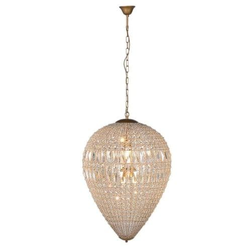 Large Dome Beaded Crystal Chandelier