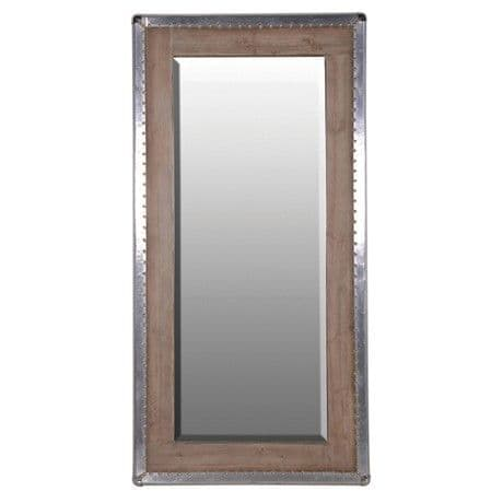 Large Silver Trim Studded Wooden Mirror