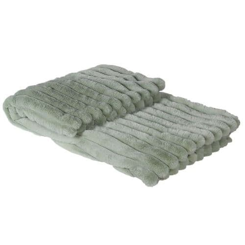 Mint Green Ribbed Faux Fur Throw