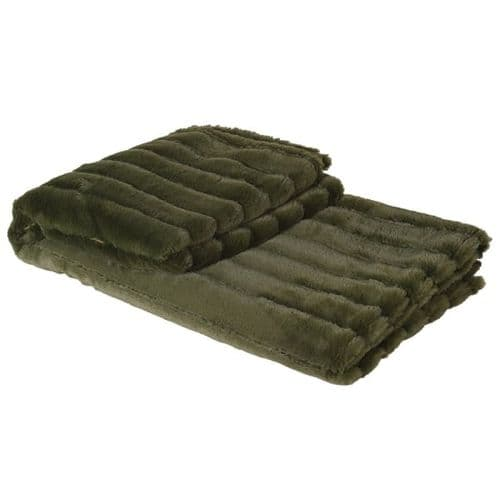 Olive Green Ribbed Faux Fur Throw