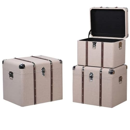 Set of 3 Beige Trunks with wood Trim