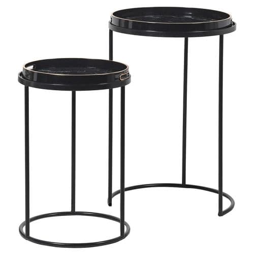 Set of Two Black Marble Effect Tray Side Tables