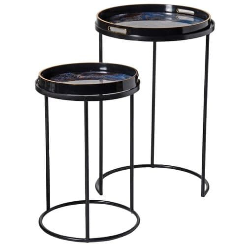 Set of Two Blue Marble Effect Tray Side Tables