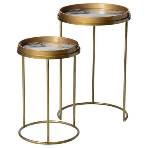 Set of Two White Marble Effect Tray Side Tables