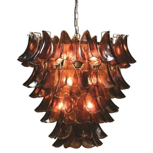 Smoked Glass Tiered Leaf Chandelier