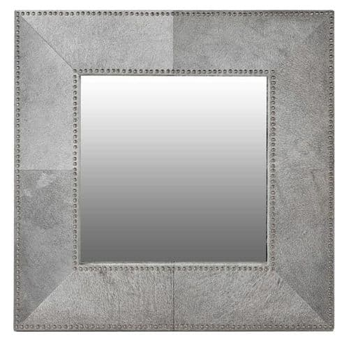 Studded Hide Square Mirror