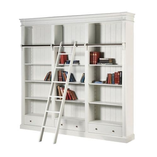 White Farnley Bookcase with Ladder