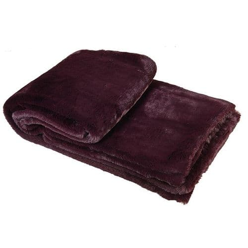 Wine Faux Fur Throw