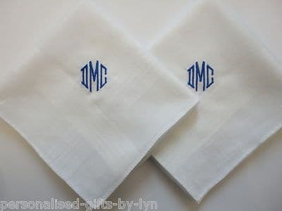 2 Personalised Handkerchiefs - Mens - Gents Handkerchief