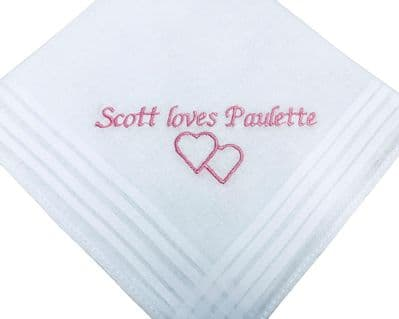 Personalised cotton handkerchief with hearts