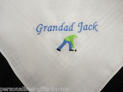 Personalised Handkerchief with Bowls design.