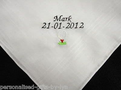 Personalised Handkerchief with golf ball design.