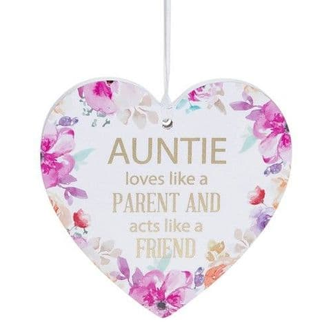 Auntie White Hanging Heart Sentiment Floral Plaque - Messages