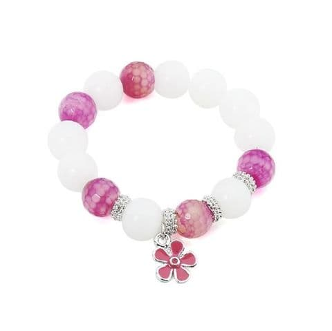 Beaded Bracelet Pink and White
