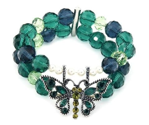 Beaded Butterfly Bracelet Green