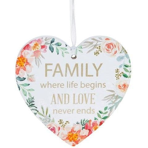 Family White Hanging Heart Sentiment Floral Plaque - Messages