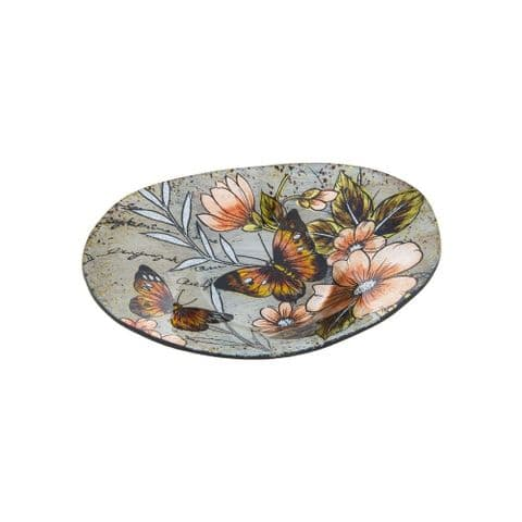 Admiral Butterfly Pattern Glass Oval Bowl/Dish with Metallic Finish -