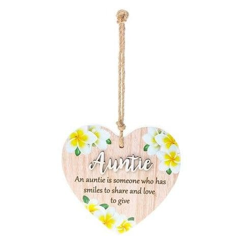 Auntie Floral Wood Hanging Heart Sentiments Plaques with 3D Lettering