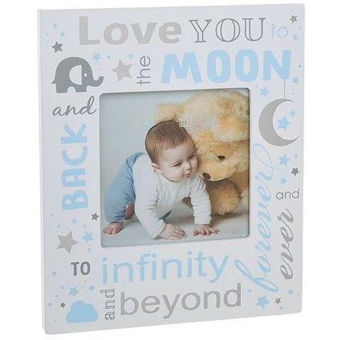 Baby Boy Sentiment - Love You to the Moon and Back Photo Frame