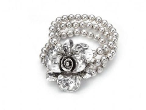 Beaded Metal Flower Bracelet