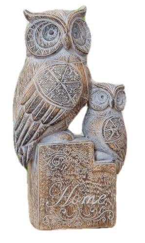 Beautiful Carved Wood Effect  Owl & Baby Statue Ornament Figure 20.5cm