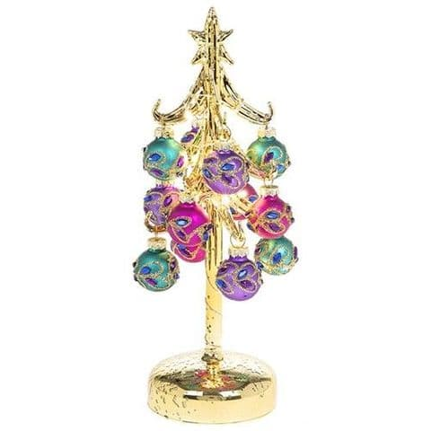 Beautiful Glass LED Christmas Tree with Peacock Coloured Glittered Baubles