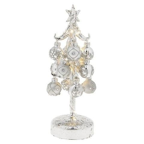 Beautiful Glass LED Christmas Tree with Silver Coloured Glittered Baubles
