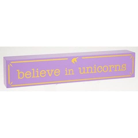 Believe in Unicorns Lilac Shelf Sign with Gold Lettering 30cm