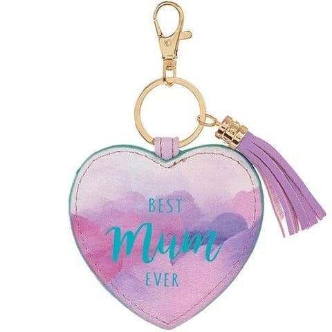 Best Mum Ever Lilac Heart Leatherette Keyring Bag Charm with Tassels