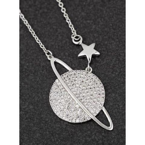Celestial Pave Planet with Ring Platinum plated Pendant from Equilibrium