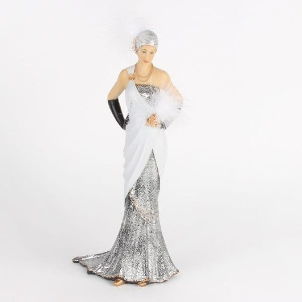 Charleston  Lady Margaret  Figure Ornament in White and silver Dress