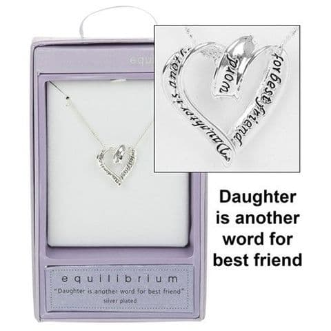 Coiled Open Heart Pendant Necklace Daughter Message