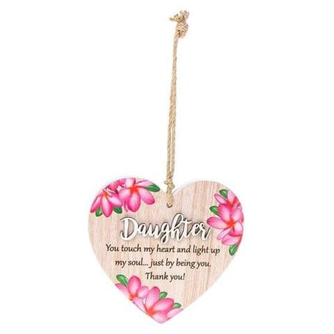 Daughter  Floral Wood Hanging Heart Sentiments Plaques with 3D Lettering