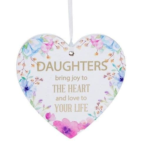 Daughter White Hanging Heart Sentiment Floral Plaque - Messages
