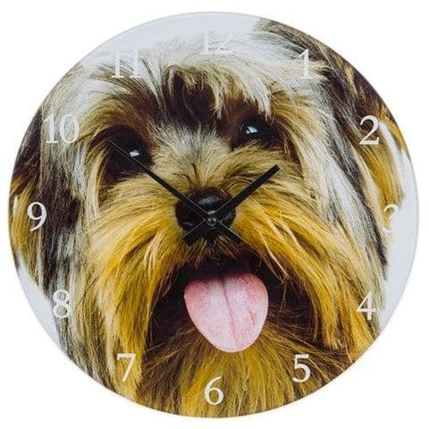 Dog Breed Glass Clock - 17cm Wall or Standing  - Yorkie, Yorkshire Terrier