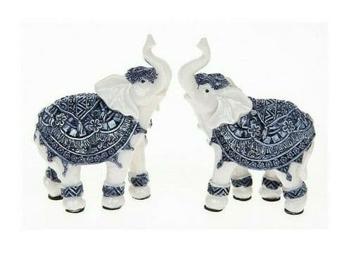Elephant Statues Small Pair Of Blue And White Elephant Figures