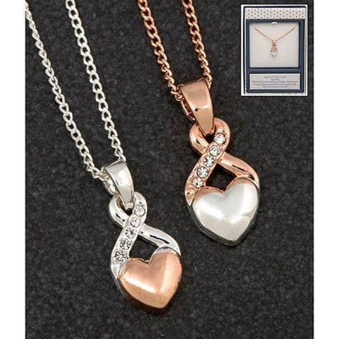 Equilibrium 2 Tone Heart/Kiss Necklace Rose Gold with Silver Heart