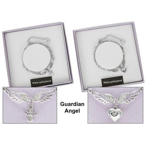 Equilibrium Angel Wings White Gold Plated Charm Bracelet
