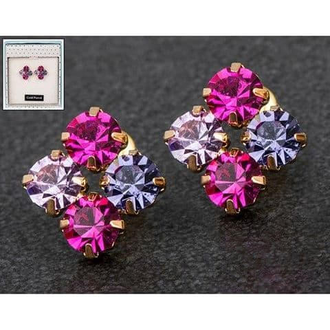 Equilibrium Crystal Rose Gold Plated Sparkly Cluster Earrings  Rose, Lilac, Pink