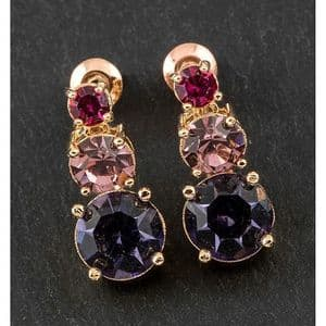 Equilibrium Crystal Rose Gold Plated Sparkly Drop Earrings  Pink, Lilac, Purple