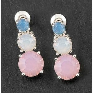 Equilibrium Crystal Silver Plated Sparkly Drop Earrings Blue White & Pink
