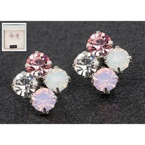 Equilibrium Crystal Sparkly Cluster Earrings  Rose, Pink, White & Clear