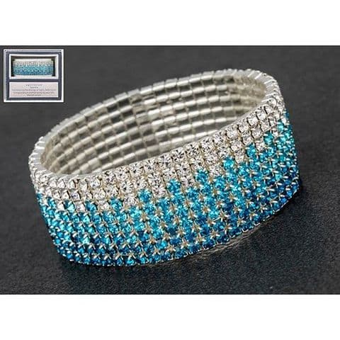 Equilibrium Diamante Clear and Blue Bracelet Gift Boxed
